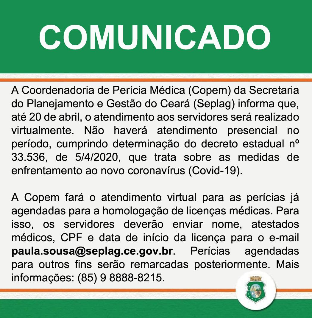Coordenadoria de Perícias Médicas atenderá virtualmente até 20 de abril